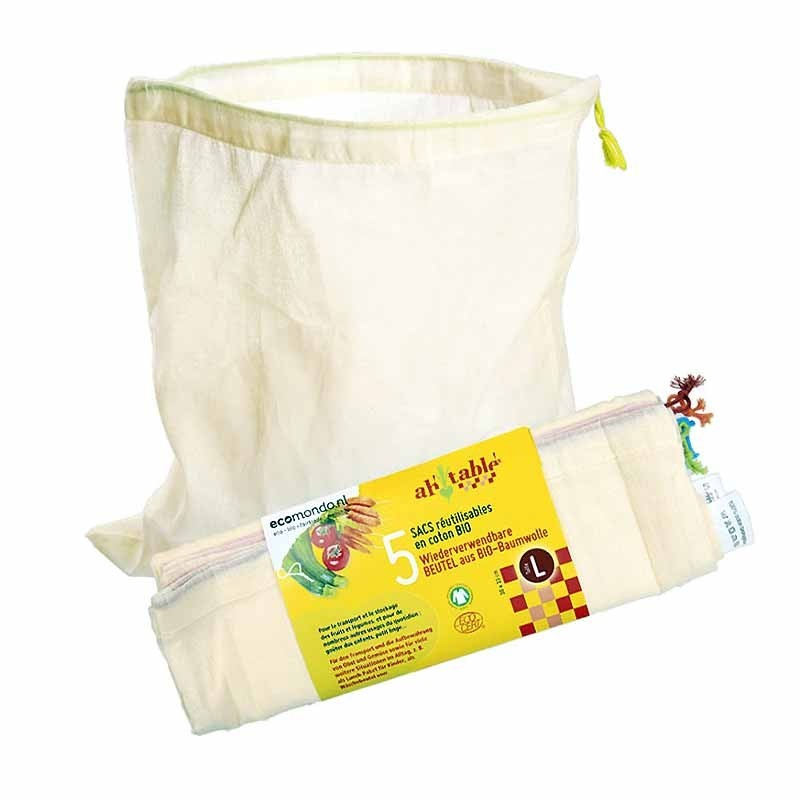 5 reusable bags in organic cotton for dried fruit, vegetables, biscuits - size L - 5 bags for vegetables, dry food in BIO cotton Size LARGE - Ah! Table!