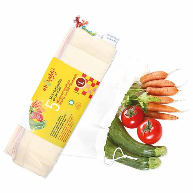 Ah! Table! 5 reusable sachets for fruit and vegetables in cotton, also to cover pot kefir or kombucha