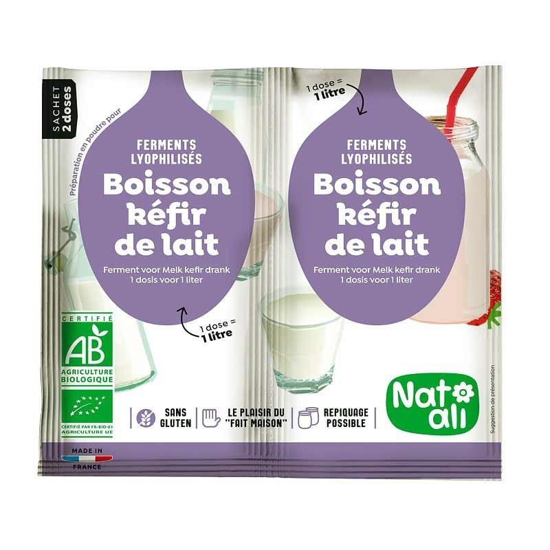 Ferments lyophilisés - Préparation en poudre pour boisson kéfir de lait - sachet 2x6g