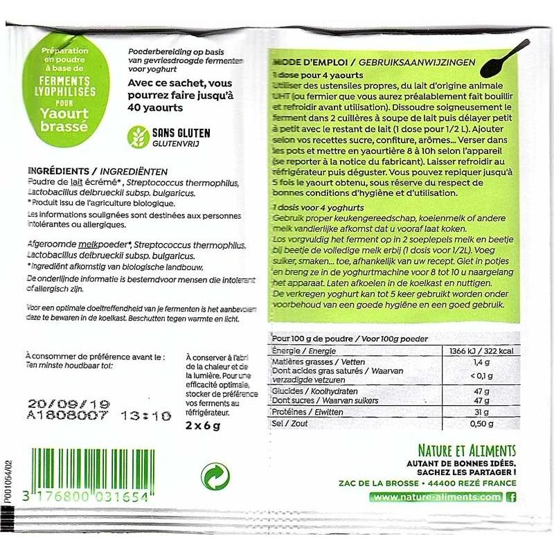 Ferment Lyophilise pour Yaourt Bio