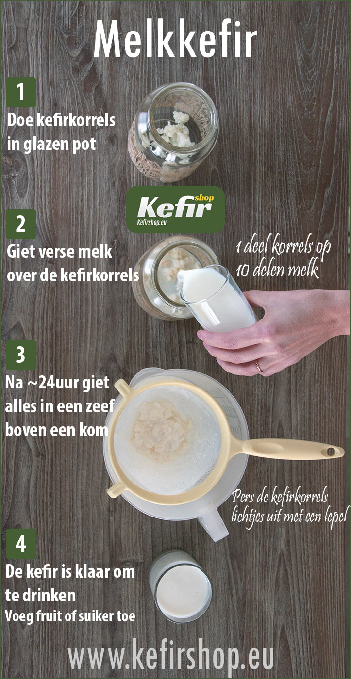 Melk kefir - korte instructie
