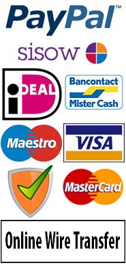 Secure online payment with Paypal, Bancontact, Visa, MC, Sofortbanking, wire transfer